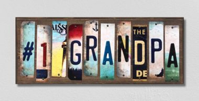 #1 Grandpa License Plate Strips Novelty Wood Signs WS-253
