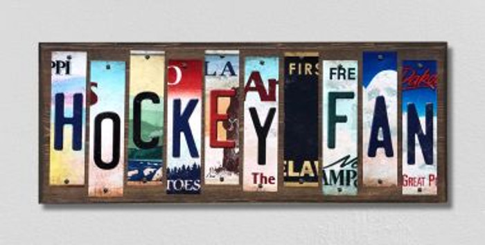 Hockey Fan License Plate Strips Novelty Wood Signs WS-284
