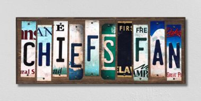 Chiefs Fan License Plate Strips Novelty Wood Signs WS-353