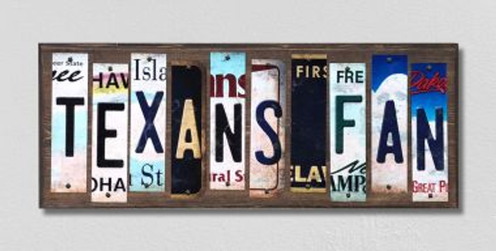 Texans Fan License Plate Strips Novelty Wood Signs WS-354