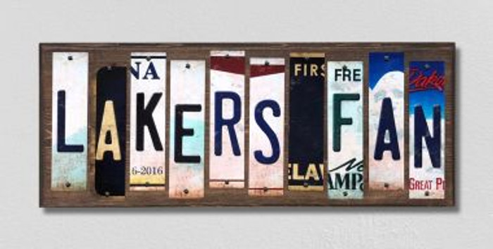 Lakers Fan License Plate Strips Novelty Wood Signs WS-361