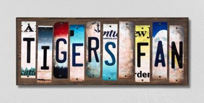 Tigers Fan License Plate Strips Novelty Wood Signs WS-409