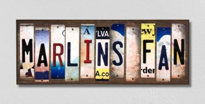 Marlins Fan License Plate Strips Novelty Wood Signs WS-414
