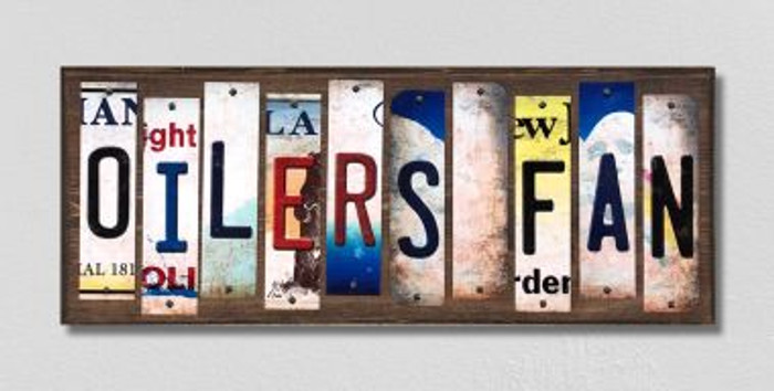 Oilers Fan License Plate Strips Novelty Wood Signs WS-423