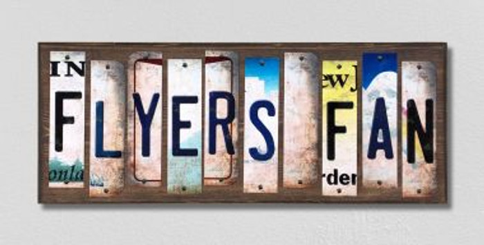 Flyers Fan License Plate Strips Novelty Wood Signs WS-424