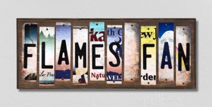 Flames Fan License Plate Strips Novelty Wood Signs WS-428
