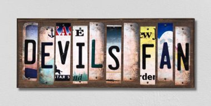 Devils Fan License Plate Strips Novelty Wood Signs WS-435