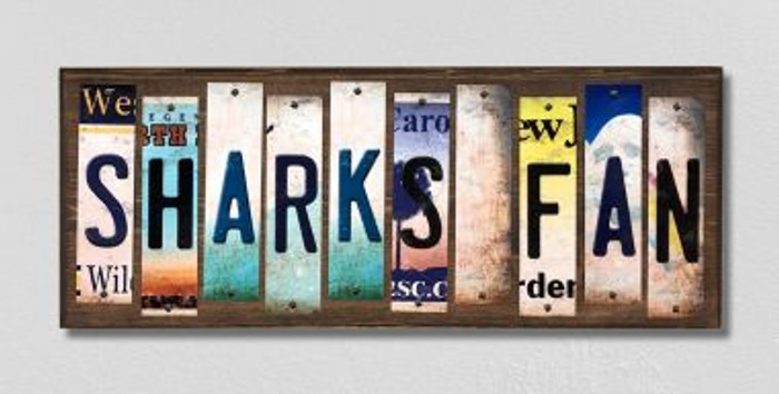 Sharks Fan License Plate Strips Novelty Wood Signs WS-442