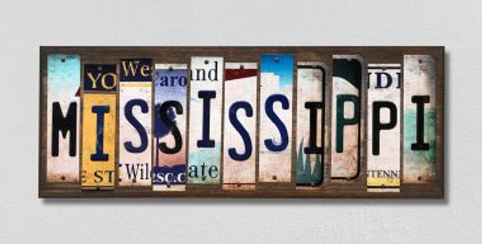 Mississippi License Plate Strips Novelty Wood Signs WS-174