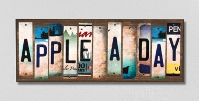 Apple A Day License Plate Strips Novelty Wood Signs WS-250
