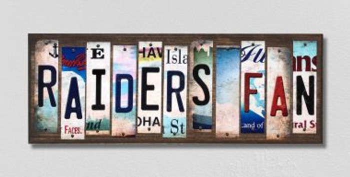 Raiders Fan License Plate Strips Novelty Wood Signs WS-334