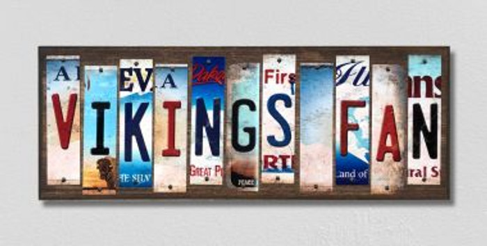 Vikings Fan License Plate Strips Novelty Wood Signs WS-336