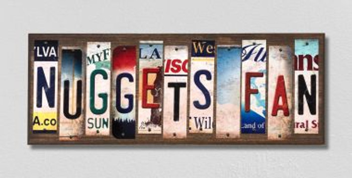 Nuggets Fan License Plate Strips Novelty Wood Signs WS-375