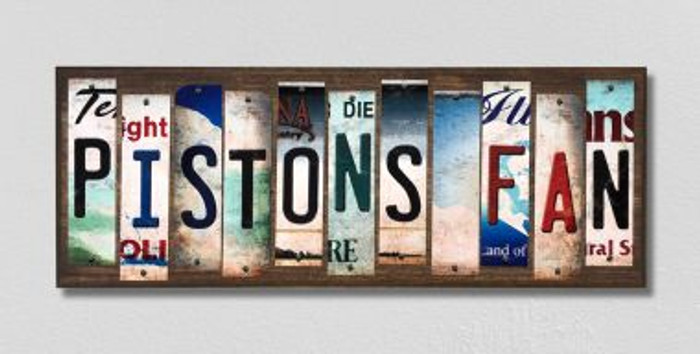 Pistons Fan License Plate Strips Novelty Wood Signs WS-377