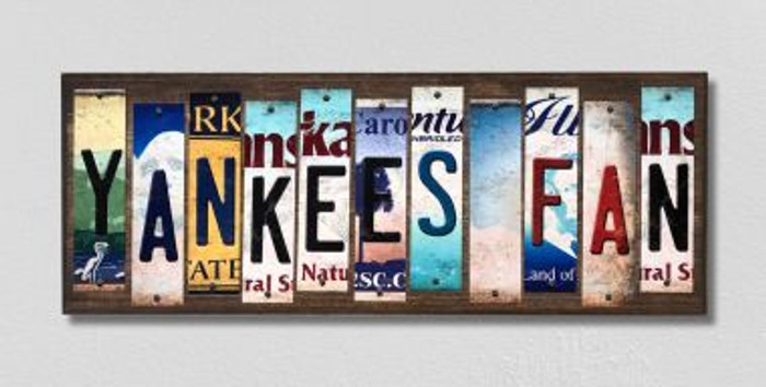 Yankees Fan License Plate Strips Novelty Wood Signs WS-389