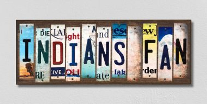 Indians Fan License Plate Strips Novelty Wood Signs WS-405