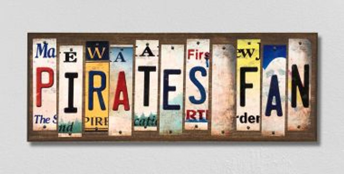 Pirates Fan License Plate Strips Novelty Wood Signs WS-412