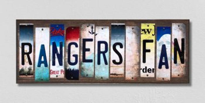 Rangers Fan License Plate Strips Novelty Wood Signs WS-427