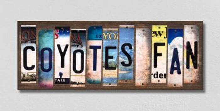 Coyotes Fan License Plate Strips Novelty Wood Signs WS-448