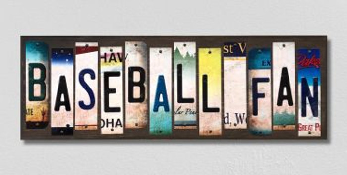 Baseball Fan License Plate Strips Novelty Wood Signs WS-286