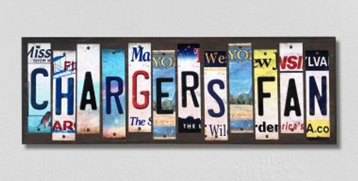 Chargers Fan License Plate Strips Novelty Wood Signs WS-356