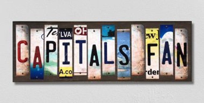 Capitals Fan License Plate Strips Novelty Wood Signs WS-438