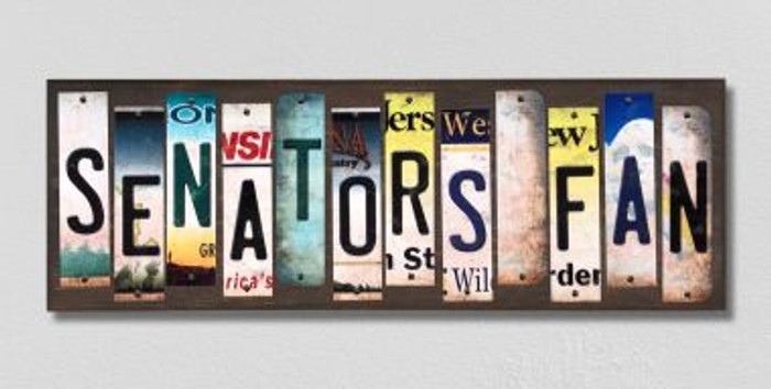 Senators Fan License Plate Strips Novelty Wood Signs WS-439