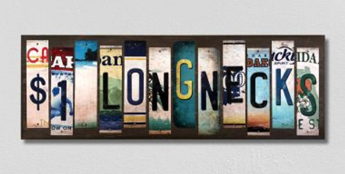 $1 Longnecks License Plate Strips Novelty Wood Signs WS-583