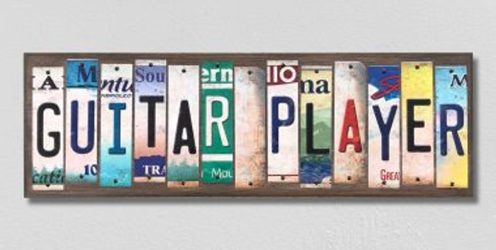 Guitar Player License Plate Strips Novelty Wood Signs WS-244