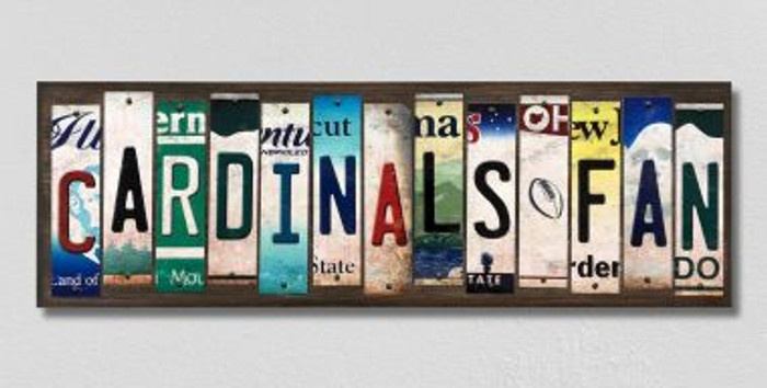 Cardinals Fan License Plate Strips Novelty Wood Signs WS-351