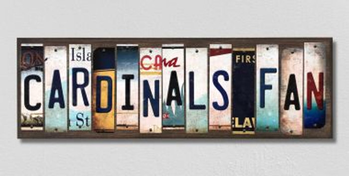 Cardinals Fan License Plate Strips Novelty Wood Signs WS-395