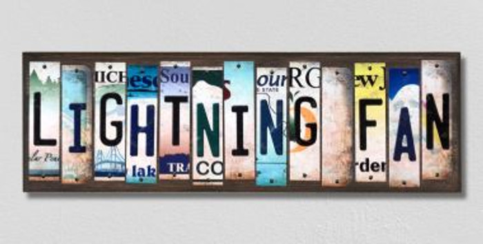 Lightning Fan License Plate Strips Novelty Wood Signs WS-432