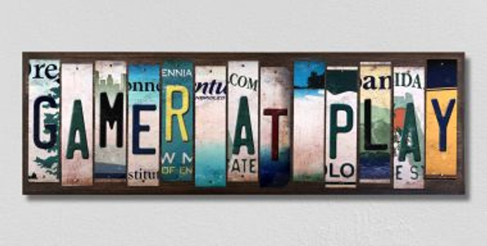 Gamer At Play License Plate Strips Novelty Wood Signs WS-483