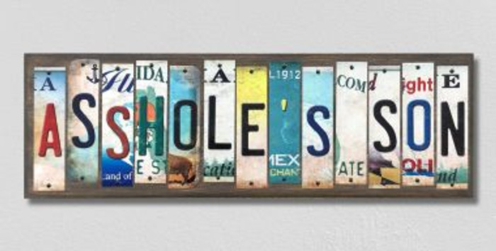 Assholes Son License Plate Strips Novelty Wood Signs WS-569