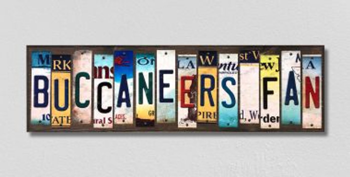 Buccaneers Fan License Plate Strips Novelty Wood Signs WS-357