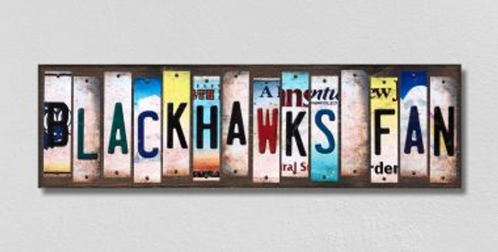 Blackhawks Fan License Plate Strips Novelty Wood Signs WS-429