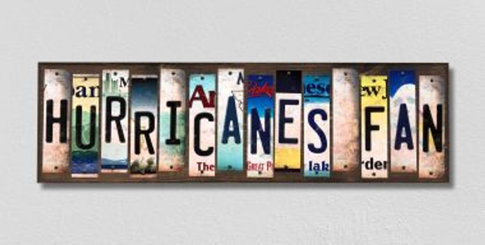 Hurricanes Fan License Plate Strips Novelty Wood Signs WS-449