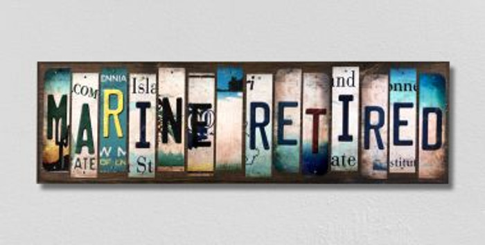 Marine Retired License Plate Strips Novelty Wood Signs WS-495