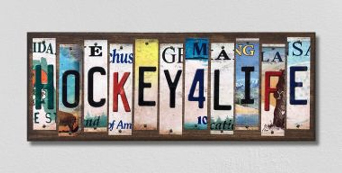 Hockey For Life License Plate Strips Novelty Wood Signs WS-563