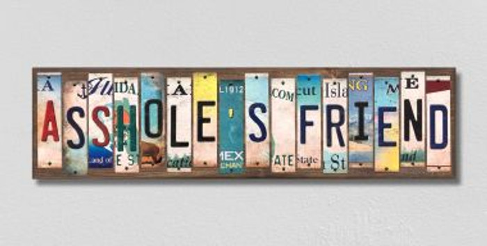 Assholes Friend License Plate Strips Novelty Wood Signs WS-567