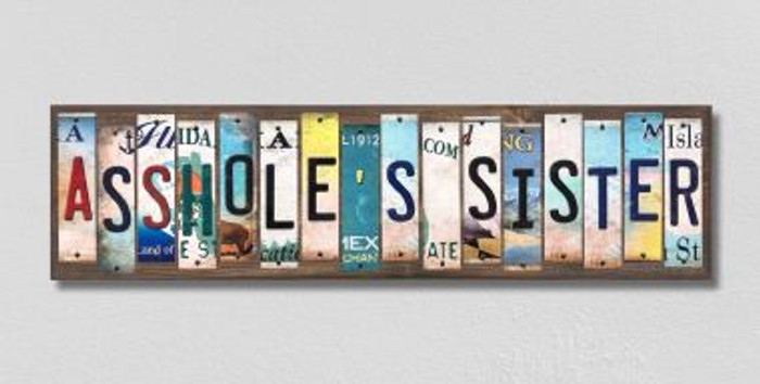Assholes Sister License Plate Strips Novelty Wood Signs WS-571