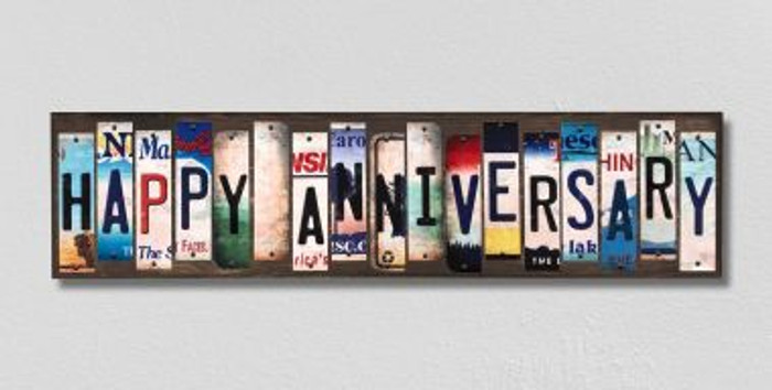 Happy Anniversary License Plate Strips Novelty Wood Signs WS-255