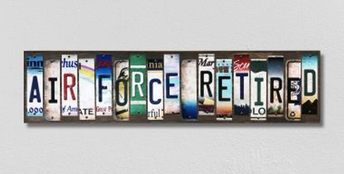 Air Force Retired License Plate Strips Novelty Wood Signs WS-493
