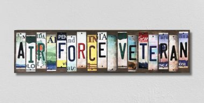 Air Force Veteran License Plate Strips Novelty Wood Signs WS-494