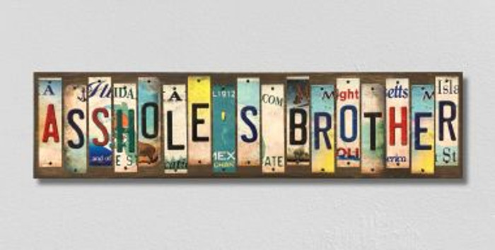 Assholes Brother License Plate Strips Novelty Wood Signs WS-572
