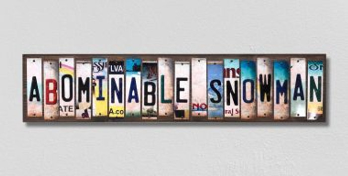 Abominable Snowman License Plate Strips Novelty Wood Signs WS-320