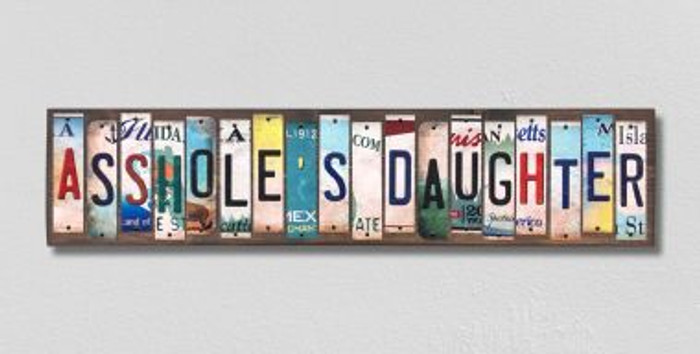 Assholes Daughter License Plate Strips Novelty Wood Signs WS-570
