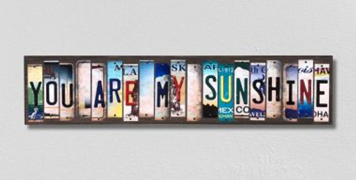 You Are My Sunshine License Plate Strips Novelty Wood Signs WS-322