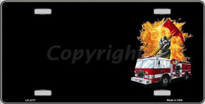 Fire Engine Flames Flaming Ax Offset Metal Novelty License Plate LP-3777