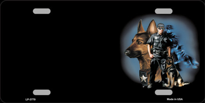 Policeman K9 Dog Offset Metal Novelty License Plate